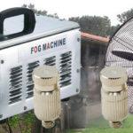 Vonalsoros párásító rendszer 70 fúvókával 2 teraszhűtő ventilátorral 70bár